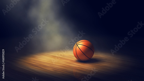 Ball on basketball court with spotlights , Basketball arena