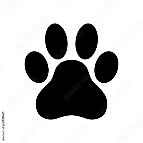 Dog paw print. Paw icon. Vector illustration.