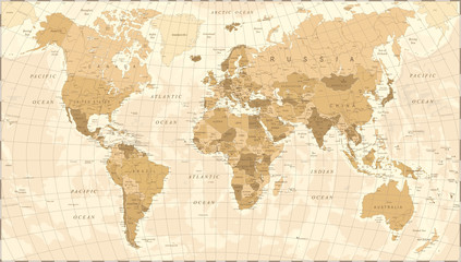 World Map Vintage Vector © dikobrazik