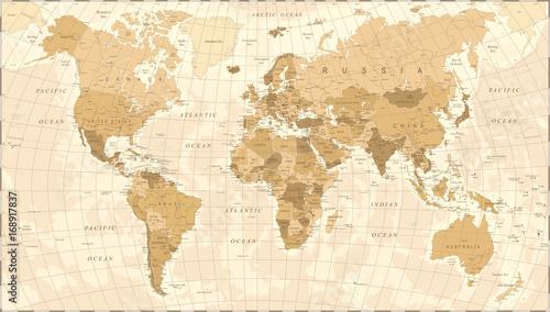 Fototapeta World Map Vintage Vector