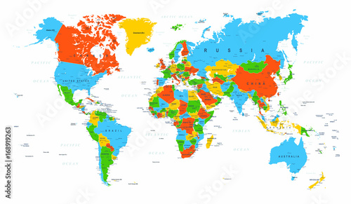 World Map Political Red Blue Green Vector