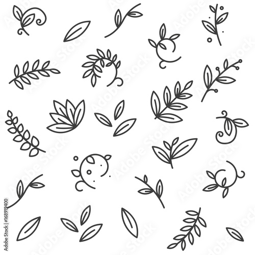 Seamless Pattern Green Floral Decorative Branch Leaves Plant Flat Line Stroke Icon Pictogram Symbol