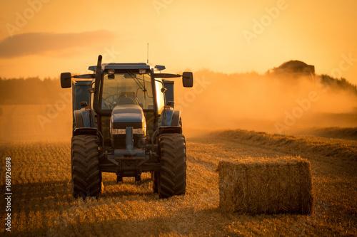 Fotobehang Trekker tractor sunset harvest
