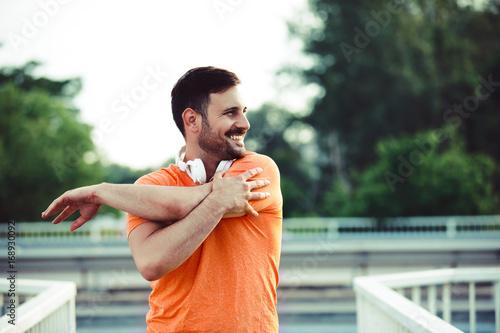 Man exercise on the bridge