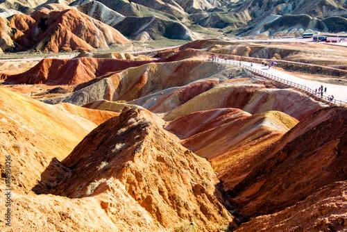 Foto op Plexiglas Bruin Park geologiczny Zhangye Danxia Tęczowe Góry