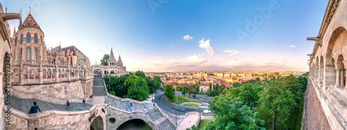 Fotobehang Boedapest Budapest, Fischerbastei und Blick über die Stadt