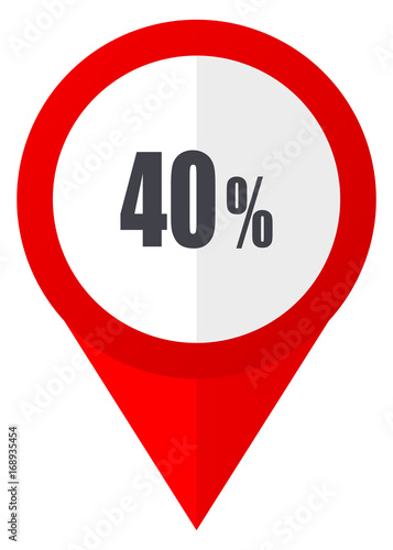 40 percent red web pointer icon. Webdesign button on white background.