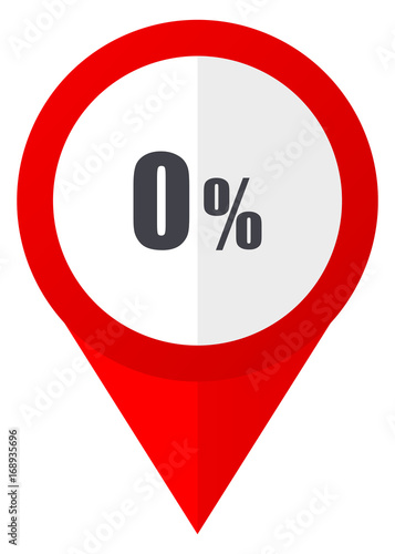 0 percent red web pointer icon. Webdesign button on white background.