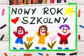 Kolorowy rysunek przedstawiający dzieci cieszące się z Nowego Roku Szkolnego. Powrót do szkoły.