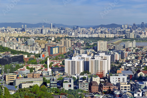 Fotobehang Seoel The sprawling city of Seoul, in South Korea located roughly 35 miles from the DMZ of North Korea