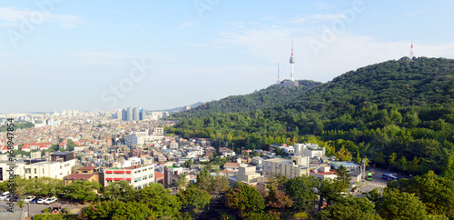 Namsan Mountain and Seoul Tower in the city of Seoul, South Korea located roughl Poster
