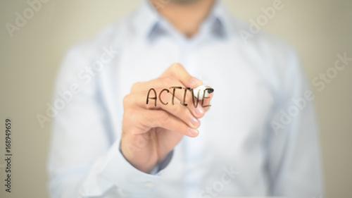 Active, Man writing on transparent screen