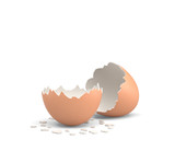3d rendering of an empty and cracked chicken egg with a brown shell on white background. - 168952009