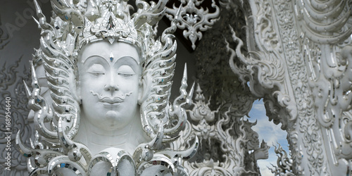head of statue in white temple, chiang rai, Thailand