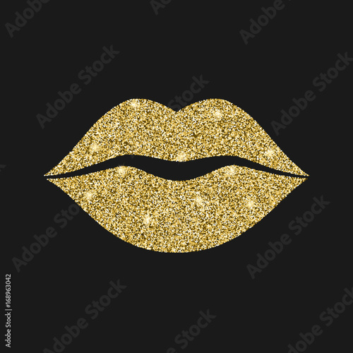 lip icon with glitter effect isolated on black background outline