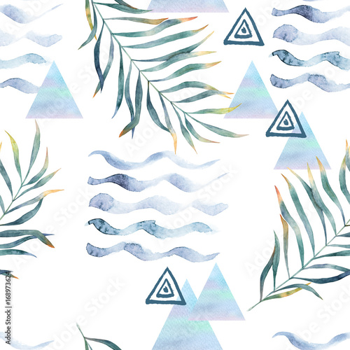Abstract print with watercolor random elements. Seamless pattern in retro style. Hand drawn  illustration - 168973624