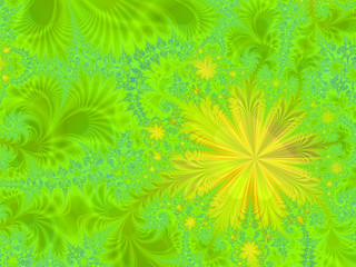 Abstract multicolored illustration on a green background