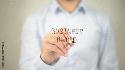 Business Award, man writing on transparent screen