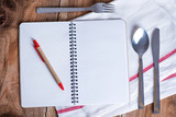 Blank recipe book on wooden table - 168977618