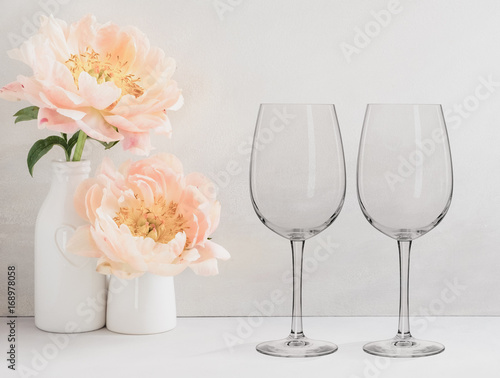 Floral Mockup - 2 empty wine glasses,next to flower arrangement, perfect for businesses who sell decals, vinyl stickers, just overlay your design