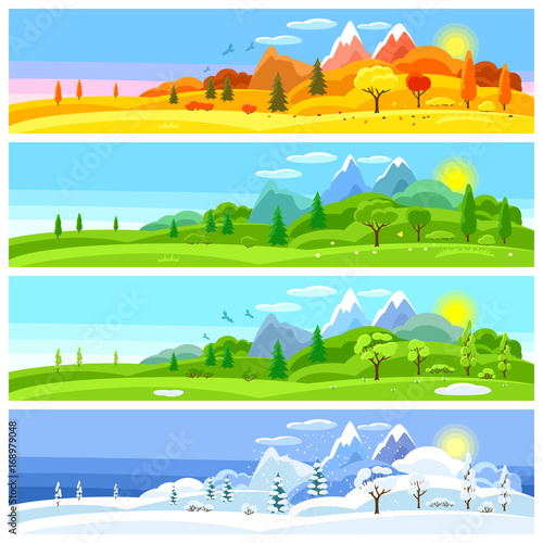 Fotobehang Pool Four seasons landscape. Banners with trees, mountains and hills in winter, spring, summer, autumn.