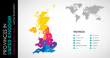 Vector map of United Kingdom and provinces COLOR - 168981288
