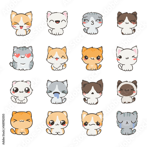 Cute cartoon cats and dogs with different emotions. Sticker collection. - 168982050