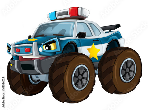Cartoon police car looking like monster truck - isolated - illustration for children - 168984025