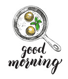 Breakfast dish. Fried eggs in a frying pan. Food elements. Vector illustration. Menu, signboard template with modern brush calligraphy style lettering. - 168985292
