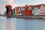 Old town on Motlawa river at sunset, Gdansk in Poland