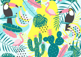Tropical seamless pattern with toucan, flamingos, cactuses and exotic leaves. Vector illustration. - 168999421