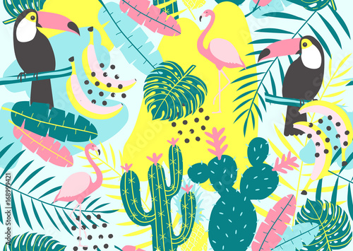 Tropical seamless pattern with toucan, flamingos, cactuses and exotic leaves. Vector illustration. © 210484kate