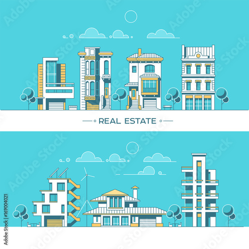 Fotobehang Turkoois City landscape. Real estate and construction business concept with houses. Line style. Vector illustration.