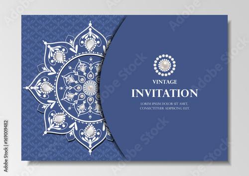 Fototapeta Invitation Card Vintage Design With Diamond