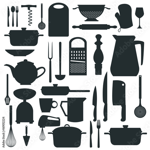 white background with monochrome silhouette different elements of kitchen vector illustration