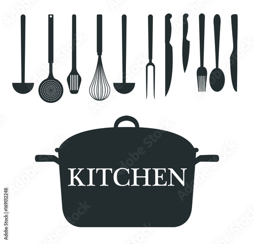 white background with monochrome silhouette different utensils of kitchen and pot closeup vector illustration