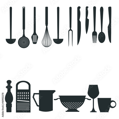 white background with monochrome silhouette different utensils of kitchen border style vector illustration