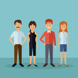 color background with full body people standing women and men vector illustration