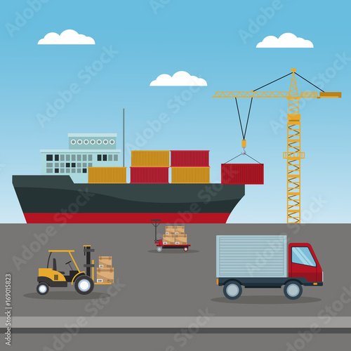 Aluminium Grijs color sky landscape background with vehicles of logistics transport vector illustration