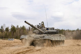 Russian T-72 tank at the military training ground - 169016065
