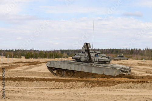 Russian T-72 tank at the military training ground Poster