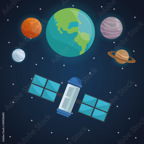 Fotobehang Nachtblauw color space landscape background with satellite with view planets in cosmos vector illustration