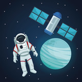 color space landscape background with astronaut and view neptune planet with satellite vector illustration - 169016879