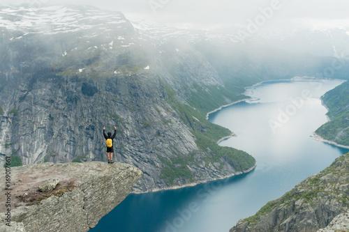 Fotobehang Donkergrijs Trolltunga in Norway is fabulous beauty
