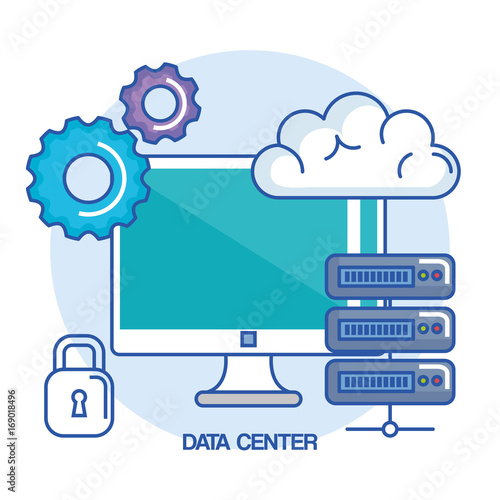 data center computer base system protection vector illustration