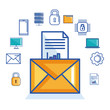 email message document security cyber digital vector illustration