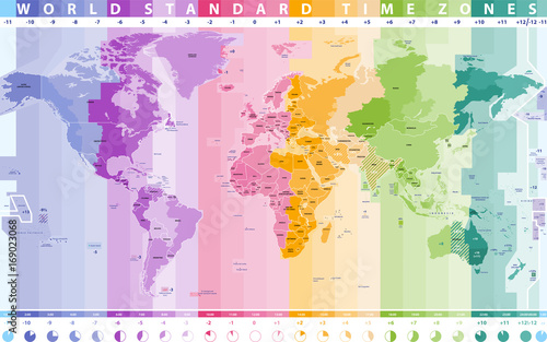 world standard time zones vector map