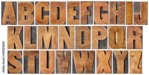 Poster vintage alphabet set in wood type