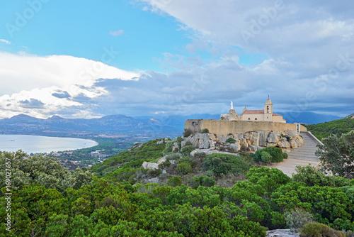 Fotobehang Pool Notre Dame de la Serra near Calvi, Corsica, France