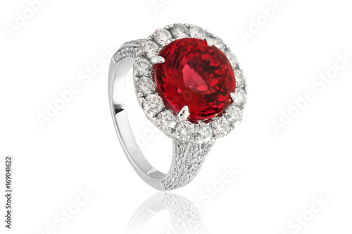 Foto Murales Ring with red ruby, jewelery with red diamonds in gold